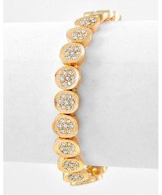 436806 Gold Tone / Clear Rhinestone / Lead&nickel Compliant / Stretch / Bracelet