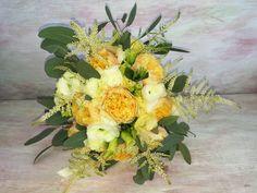 Romantic bridal bouquet with vuvuzela roses, lisianthus, ranunculus, astillbe and eucalypthus. Wedding Bride, Wedding Flowers, Ranunculus, Floral Arrangements, Brides, Floral Wreath, Bouquet, Romantic, Wreaths
