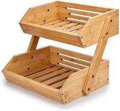 Fruit And Vegetable Storage, Fruit Storage, Produce Storage, Food Storage, Basket Shelves, Storage Shelves, Storage Baskets, Bamboo Countertop, Kitchen Countertops