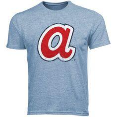 4d360280253 Majestic Threads Atlanta Braves 1972-1980 Cooperstown Logo Tri-Blend T-Shirt  - Light Blue
