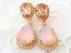 Pink opal and blush pink Chandelier earrings, Bridal earrings, Bridesmaids gift, Dangle earrings, Drop earrings, Weddings jewelry, Swarovski