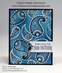 Stampin' Up! Paisleys & Posies Bandana Crayon Resist card created by Dawn…