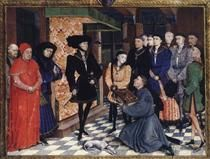 Miniature from the first page of the Chroniques de Hainaut - Rogier van der Weyden