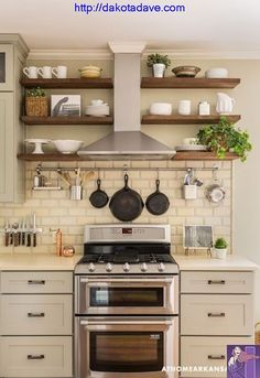 4 Cheap And Easy Useful Tips: Small Kitchen Remodel Contemporary farmhouse kitchen remodel benjamin moore.Affordable Kitchen Remodel Home Improvements small kitchen remodel contemporary.Kitchen Remodel Before And After Travel Trailers. Farmhouse Kitchen Cabinets, Kitchen Redo, New Kitchen, Kitchen Shelves, Kitchen Backsplash, Kitchen Storage, Kitchen Small, Farmhouse Kitchens, Backsplash Ideas