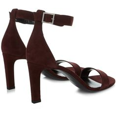 Saint Laurent Grace suede sandals ($795) ❤ liked on Polyvore featuring shoes, sandals, strappy shoes, heels stilettos, burgundy shoes, boho shoes and strappy stilettos