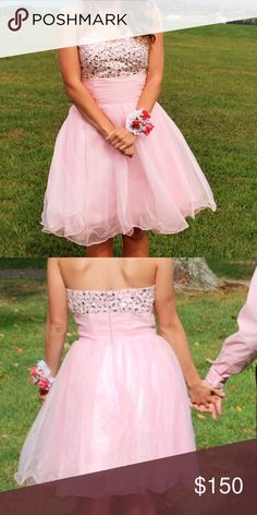 Cute light pink prom/ homecoming dress! This was only worn once! In perfect condition, cute for homecoming or a event! We can talk about the price! I'm easy to work! The size is more 2-4 Dresses Prom