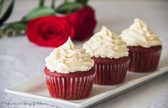 Deliciously velvet-y cupcakes are perfect paired with cream cheese frosting. Perfect red velvet cupcakes you'll ever make!