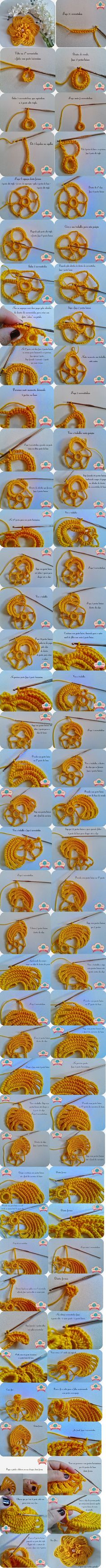 Beautiful crochet flower, step by step tutorial Crochet Vintage, Love Crochet, Irish Crochet, Beautiful Crochet, Freeform Crochet, Crochet Motif, Crochet Lace, Crochet Stitches, Knitted Flowers