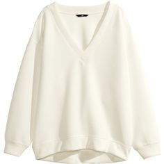 H&M Wide top ($14) ❤ liked on Polyvore featuring tops, sweaters, long sleeves, shirts, white, ribbed v neck sweater, white sweater, long sleeve shirts, white polyester shirt and v-neck shirt
