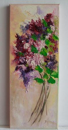 Lilacs Impressionist Original Oil Painting IMPASTO Flower Bouquet Europe Artist  #Impressionism
