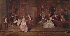 From Art History Jean-Antoine Watteau, The Signboard of Gersaint (ca. Oil on canvas, 162 × 306 cm Jean Antoine Watteau, Louvre Paris, French Paintings, Oil Paintings, Baroque Art, Jean Baptiste, Museum, Art Database, Rembrandt