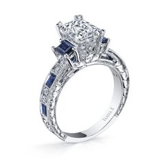 Vanna K Diamond: Round 0.26 Carat. / 1.08 CT Sapphire baguettes (not including 1.50 Carat center stone)@vanna k