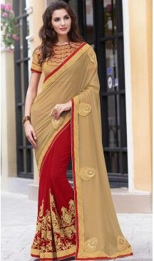 Tan Brown Color Georgette Fancy Party wear Sarees with Stitched Blouse…