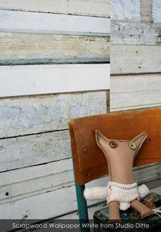 Scrapwood Wallpaper White from Studio Ditte - Patternsnap Blog, 'Scrap that!'.