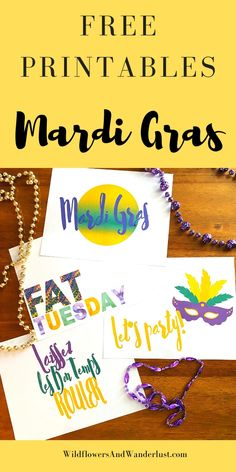 Free Printables to make your Mardi Gras party WildflowersAndWanderlust.com