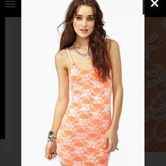 Nastygal neon lace dress Super sexy neon lace dress. Ordered from nastygal Nasty Gal Dresses
