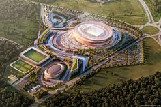 They said Dynamo Brest was getting a stadium named after Sheikh Zayed, now we know how it might look. It seems investors from UAE are determined to build a football powerhouse just beside the Polish border. Stadium Architecture, Concept Architecture, Futuristic Architecture, Facade Architecture, Landscape Design, Landscape Concept, Sports Stadium, Hospital Design, Football Stadiums