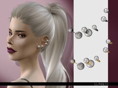 Accessories: Perla Earrings by LeahLilith from The Sims Resource Sims 4 Teen, Sims Four, Sims Cc, Maxis, Sims 4 Piercings, Around The Sims 4, Sims 4 Cc Kids Clothing, Sims 4 Children, Sims 4 Characters