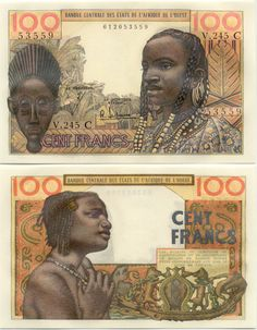 Banknote of West Africa. Based on the images on the currency I know the people pictured probably did something great, and the mask may be a ritual or ceremony item. African Tribes, Money Talks, West Africa, Ephemera, How To Get Rich, Artwork, Collection, Prints, Character