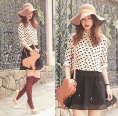 From Dear Yammi Felt Hat, Yesstyle Heart Print Shirt, Choies Embellished Skirt, Asianicandy Pony Bag, Chicwish Star Studded Socks, Charlotte Olympia Beige Pumps
