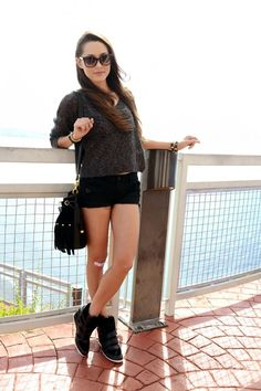 Chunky Sneakers, Teeny Shorts, Cute Knit Sweater