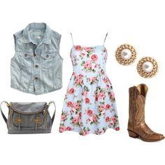 denim vest + floral dress + cowboy boots