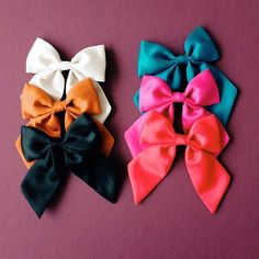 Satin Sailor Bows by Free Babes Handmade. Classic hair bows for you little girls adventerous style. Bows are handmade with love by moms all over the USA.