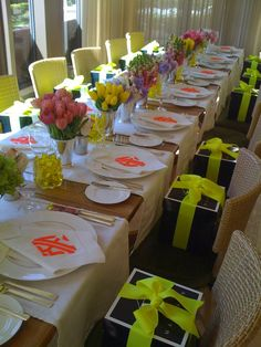 monograms and bright colors #monogram #tabletop