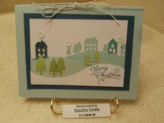November 2016 Paper Pumpkin; used envelope paper for blue layer mounted on a full-size card base - Sandra Lewis