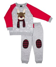66b1d506f7ea Nannette Kids Red   Gray Reindeer Sweatshirt   Gray Plaid Knee-Patch  Joggers - Infant   Toddler. Grey Sweatshirt · Baby Boy Outfits ...