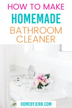 It's time to ditch the store-bought cleaners and instead make your own homemade bathroom cleaner. You'll love the ease and cost! Cleaning Recipes, House Cleaning Tips, Spring Cleaning, Cleaning Hacks, Diy Cleaners, Cleaners Homemade, Homemade Bathroom Cleaner, Baking Soda Vinegar, All Purpose Cleaners