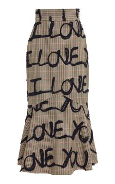 I Love You Embroidered Cady Skirt By Silvia Tcherassi | Moda Operandi Kpop Outfits, Trendy Outfits, Fashion Outfits, Kpop Fashion, Black Strappy Heels, Future Fashion, Wool Skirts, Clothing Items, Autumn Winter Fashion