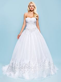 Ball Gown Plus Sizes Wedding Dress - White Court Train Sweetheart Organza - USD $ 159.99
