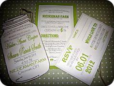 Mason jar invitations-use for a county fair themed baby shower instead of wedding!