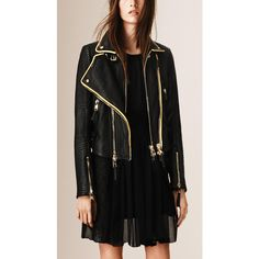 Burberry The Biker Jacket ($3,995) ❤ liked on Polyvore featuring outerwear, jackets, biker jacket, military style jacket, burberry jacket, military fashion and moto jacket