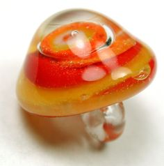 Vintage Paperweight Glass Button with Swirled Orange Yellow