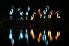 In Croatia, Old Shipyard Cranes Become Glowing Sculptures - CityLab