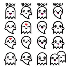 Kawaii cute ghost for Halloween icons set — Stock Illustration Kawaii Halloween, Halloween Doodle, Halloween Icons, Easy Halloween Drawings, Halloween Vector, Halloween Halloween, Holidays Halloween, Doodle Art, Doodle Drawings