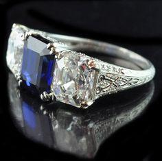 Art Deco Tiffany & Co. sapphire and diamond ring from Hancocks