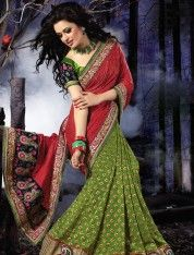 Gorgeous Green and Coral Red Viscose Georgette Saree