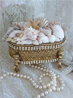 Sparkling Treasures From The Sea Bejeweled Trinket Box Cherub Feet-Weiss, Juliana,brush, comb, vintage, Clock,tray, mirror, perfume, antique, vintage, victorian, Sparkle, Eisenberg, Judy Lee,