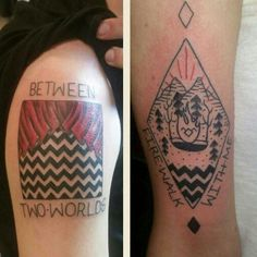 """@czarrina showing off our killer Twin Peaks tattoos """"between two worlds. Fire walk with me"""" #twinpeaks #tattoo #twinpeakstattoo"""