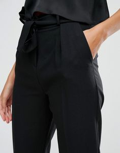 Image 3 of ASOS TALL Woven Peg Trousers With Obi Tie