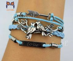 Arrow bird of husband and wife love bracelet by littlecuteowl, $4.99