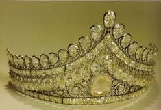 RUSSIAN CROWN JEWELS - The Russian Nuptial Tiara worn by all Imperial brides on the day of their weddings. It was made around 1800 by St. Petersburg  jeweler Jacob David Duval for Empress Elizabeth Alexeievna, wife of Emperor Alexander I.