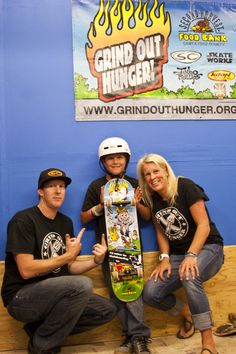 Grind Out Hunger Founder Danny Keith, Birthday boy Quintin, and Santa Cruz Vice Mayor Hilary Bryant