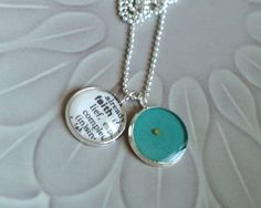 FAITH Petite Vintage Dictionary and Mustard Seed Necklace by ChirpHandmade
