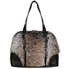 4de7cc76b8a Black Rivet Womens Faux-Leather Satchel W Faux-Fur Detail. wang mei ·  handle bags