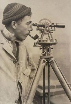 "oldnewyorklandia:  "" Lewis Wickes Hine, Surveyor, The Empire State Building, New York City, n/d.  ""  Dat tie…"