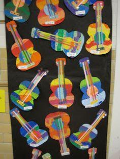 Kindergarten rainbow guitars.